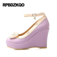 Cute High Heels Women Size 4 34 Beige Pumps Platform Lolita Shoes Japanese Wedge Ankle Strap