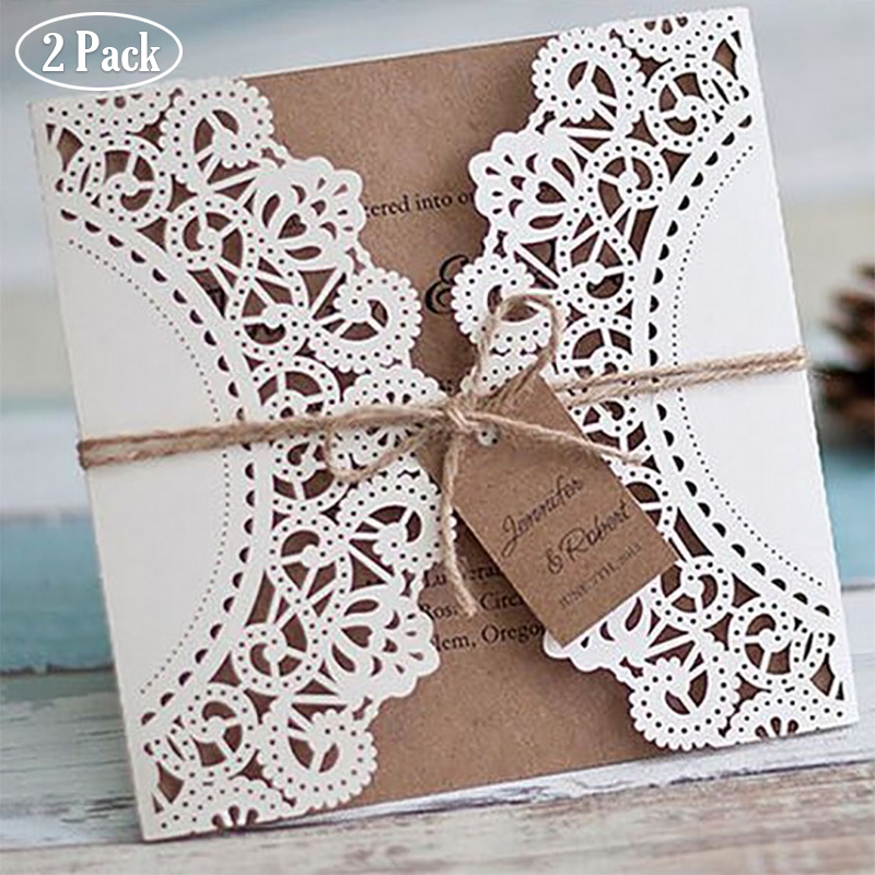 2 Pack wholesale Design Ribbons Flower Bow Laser Cut Wedding Invitations Cards custom Whtie west cowboy Type Print Lace Invite colorful white ribbons bow laser cut wedding invitations set blank paper insert romantic printing invitation cards kit