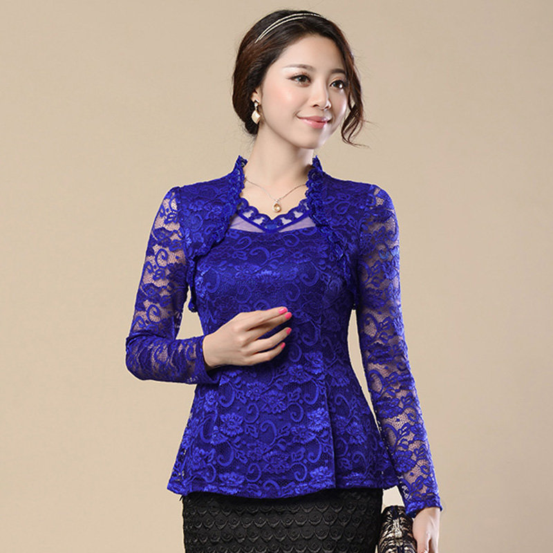 FGLAC 2019 Spring Woman lace shirt Hollow out Fashion Casual long sleeve blouse Shirt female Plus size Floral lace Tops