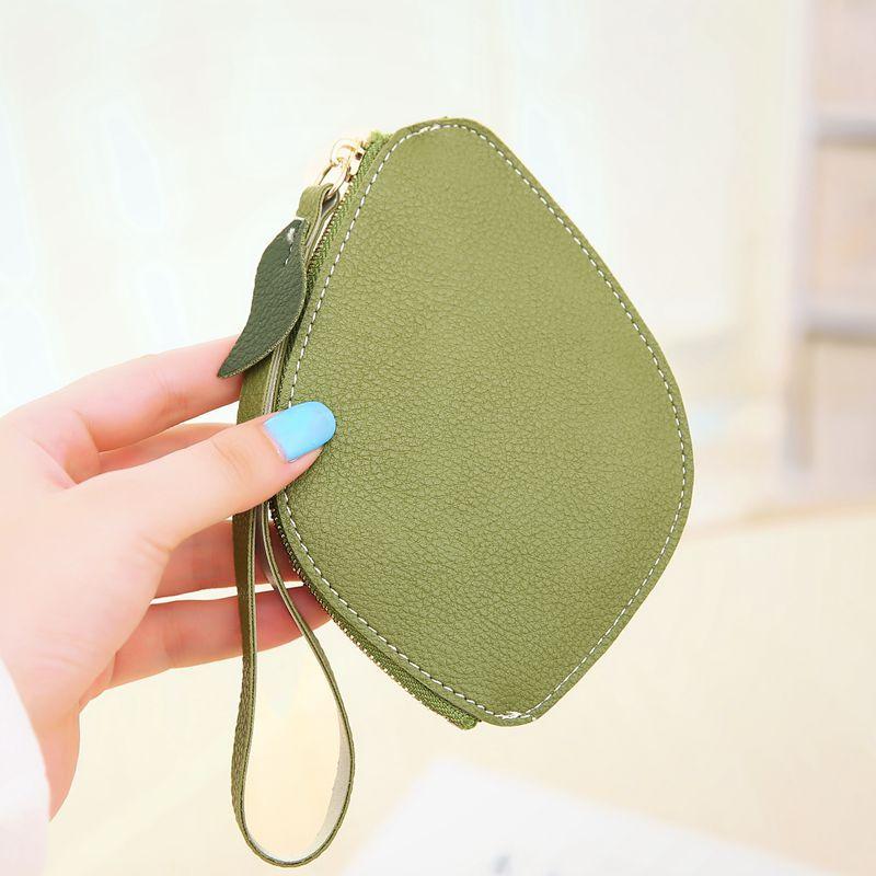 Cute Leaves change coin purse woman Leaf PU leather ladies wrist zipper mini wallet women girls money wallets female Carteira 15