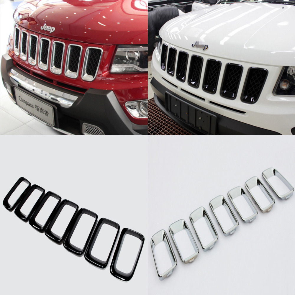 <font><b>Chromed</b></font> ABS Plastic 2 Colors 7PCS Front Center Grille Vent Hole Cover Trim For <font><b>Jeep</b></font> <font><b>Compass</b></font> 2011 <font><b>2012</b></font> 2013 2014 2015 image
