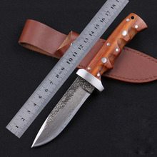 SK004 wholesale pattern Damascus steel manual forged straight knife 62HRC hardness outdoor self-defense knife