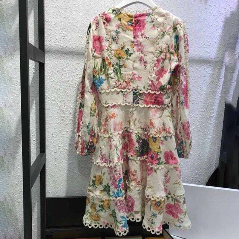 Printemps Dames As Avec Supérieure Robes Élégante Luxe Floral Qualité De Col Longue Imprimer Pics Européenne Femmes V Robe E2IYWDH9