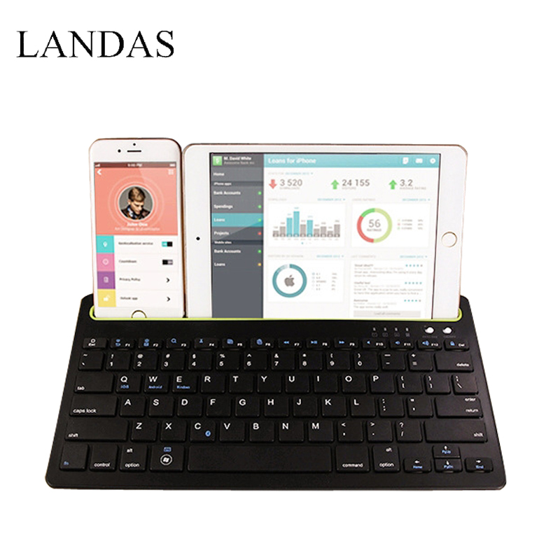 лучшая цена Landas 3 in 1 Wireless Bluetooth Keyboard For iPhone Keyboard for iPad Air 1 Air 2 Tablet For Andriod Phone For Desktop Computer