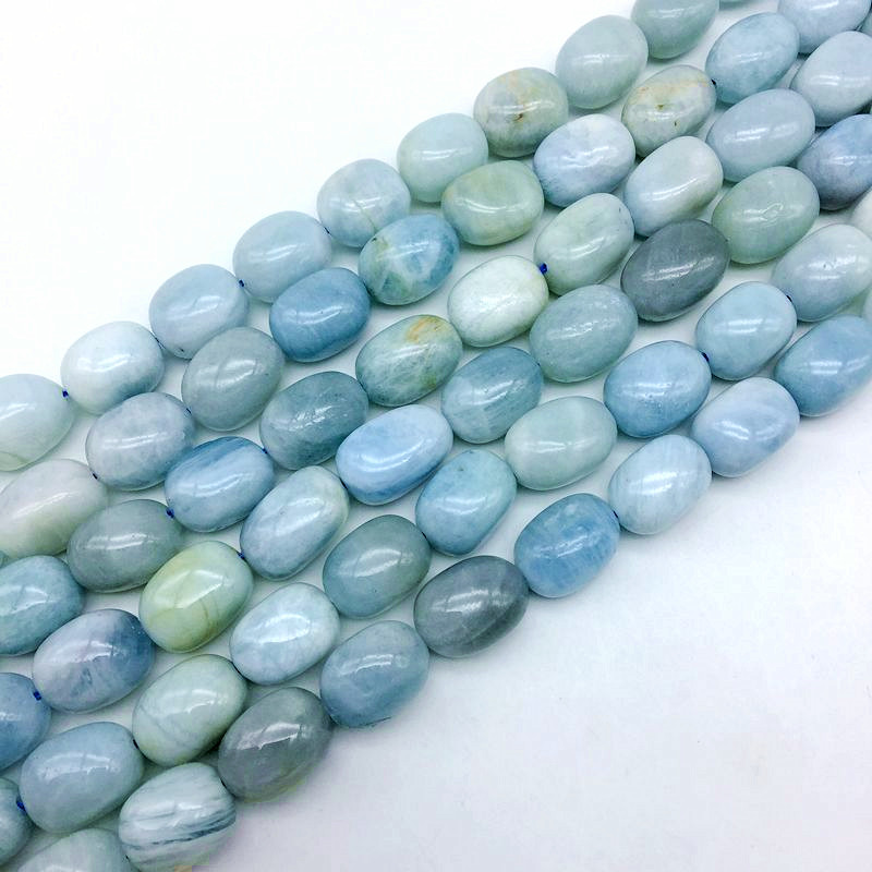Natural Aquamarin Stone Bead Smooth Oval Egg Nugget Size 10-15 mm DIY Jewelry Making Designers Beads цены онлайн