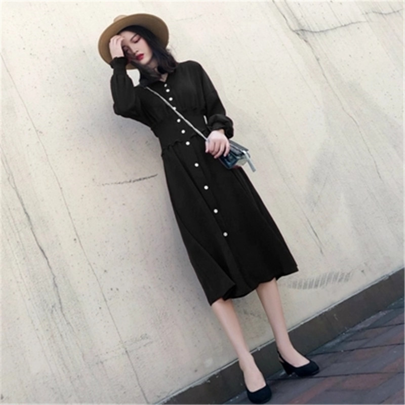2018 Autumn women's dress new spring and autumn long sleeved dress lean waist retro red dress-in Dresses from Women's Clothing    2