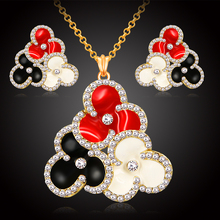 Rhinestone crystal necklace earring jewelry women 18k gold plated enamel flower fashion jewellery set african party wholesale