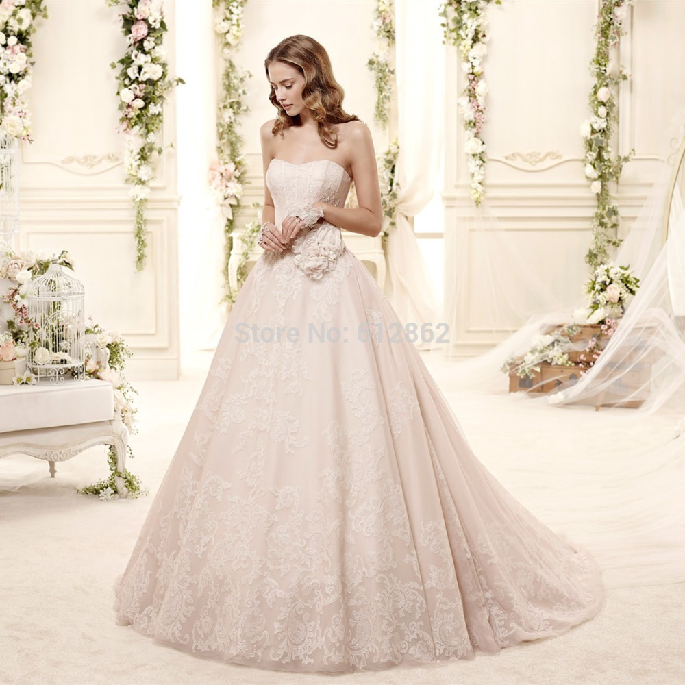New Arrival Strapless Low Cut Back Long Tail Lace Wedding