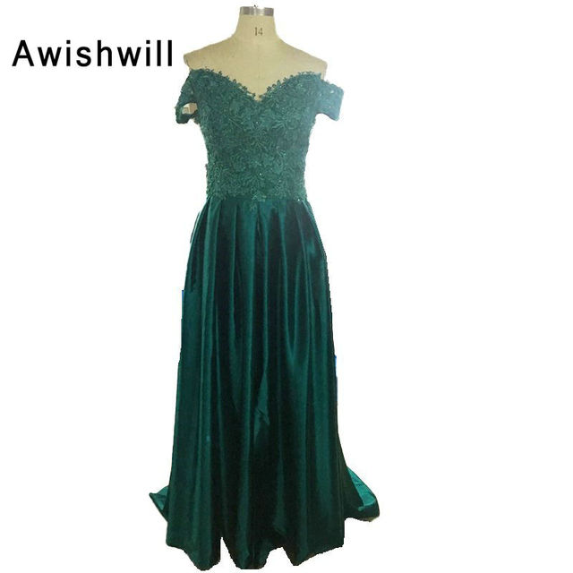 Elegant Off The Shoulder Banquet Long Emerald Green Evening Dress ...