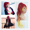 MCOSER Anime Ao no Exorcist Shura kirigakure 80cm Long Red Mix Yellow Pontail Fashion Lolita Women Cosplay Full Wig