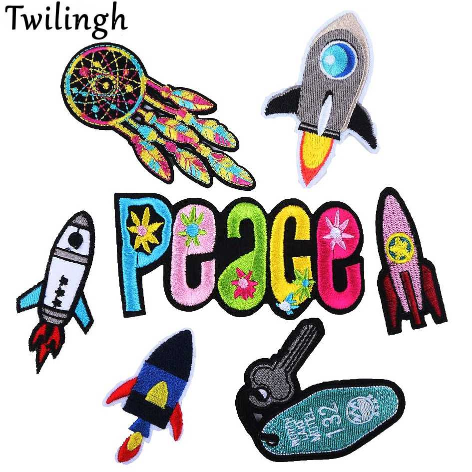 Twilingh 1pcs Embroidery Patches Outer Space Planet Pattern Letter Iron On Patches For Clothes Badges Sticker For Jeans