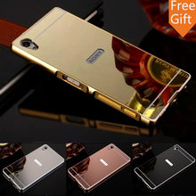 "Case For Sony Z5 Premium Aluminum Metal Frame + Mirror Acrylic Back Cover For Sony Xperia Z5 Premium Case 5.5"" E6833 E6883(China)"