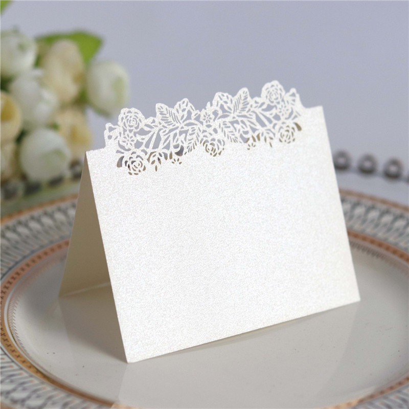 25PCS Birthday Party Decor Place Cards Laser Cut Hollow Pattern flower Shape Wedding Eve ...