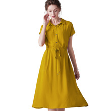Dress Summer Woman 2019 New Turn Down Collar Batwing Sleeves Solid Color Slim Drawstring Waist A-Line Casual Dress Midi S-XL dress summer woman 2019 new turn down collar batwing sleeves solid color slim drawstring waist a line casual dress midi s xl