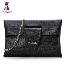 Foxer Brand Black Cow Genuine Leather Handbag Tote Bag Bolsas Women Portable +Evening Bag+ Messenger Bags Designer Handbags