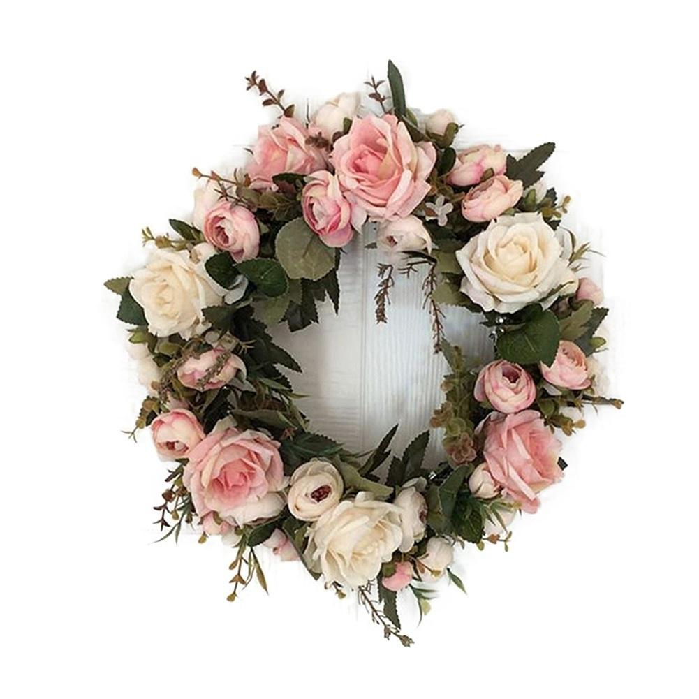 12.6inch Silk Peony Artificial Flowers Wreaths Round Door Decor Simulation Garland For Home Party Wedding Decoration