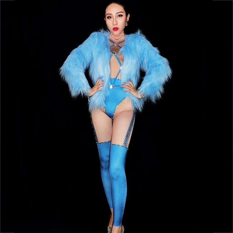 100% Waar Vrouwelijke Kostuums Nachtclubzangeres Dj Stage Ds Kleding Prestaties Outfit Stadium Jumpsuit Blauw Kristallen Bodysuit Harige Jas Dj191 Laatste Mode