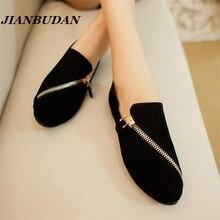 JIANBUDAN плоские ботинки женщин 2017 новая весна обувь повседневная и удобные плоские туфли размер 35-40 Черный/коричневый Молния отдых обувь