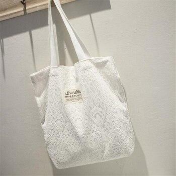 Lolita elegante encaje mujeres bolso Hobo Super gran capacidad lona bolsas de escuela cubierta de encaje blanco Negro Bolso de compras