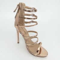 Rose Gold Gladiator Women Sandals Real Image Women Shoes High Heel Sandals Fashion Shoes Luxury Women 2016 Colorful Shoes