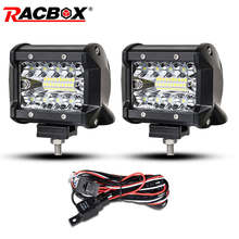 2 pcs 4 inch 60w DRL led light bar work fog running spotlight for off road ford focus 2 jeep UAZ niva 4X4 car Headlight fog beam
