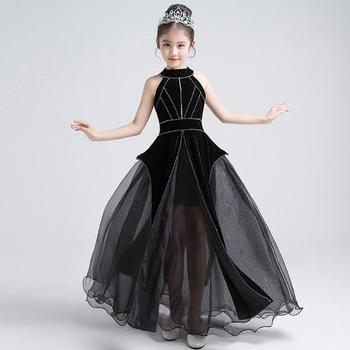 Luxury Black Princess Dress Halter Beading Evening Dress Ball Gown Tulle Kids Pageant Dress Birthday Girls Party Costume Y485