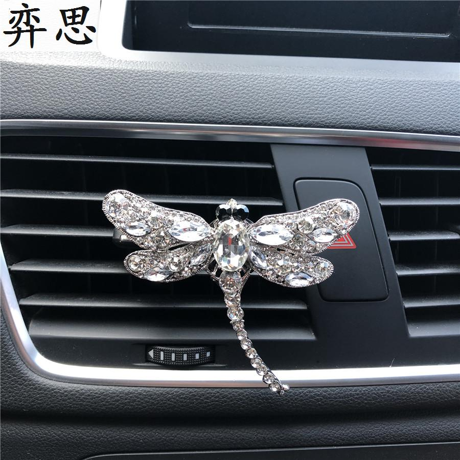 Metal Dragonfly car decorative perfume air freshener Cartoon car perfume styling accessories Air conditioner Clip car outlet perfume air freshener with thermometer lime