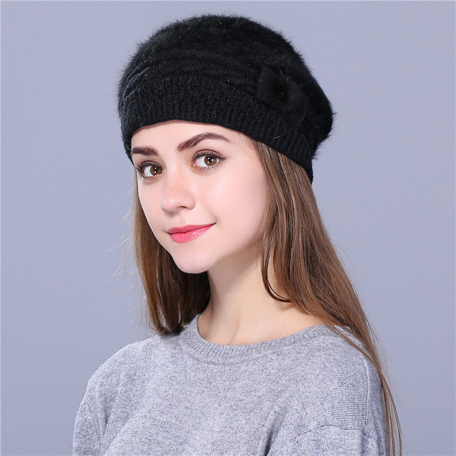 Xthree Winter Autumn Beret Hat Knitted Hat Rabbit Fur Beret Solid Colors Lady Cap