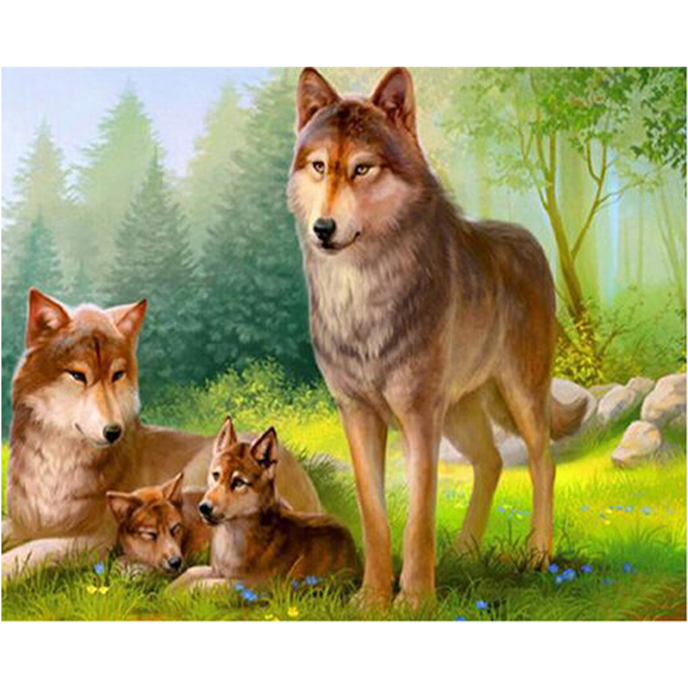 5D diamante ricamo lupo della animale di diy kit di pittura diamante mosaico di artigianale incompiuta decor mural M32
