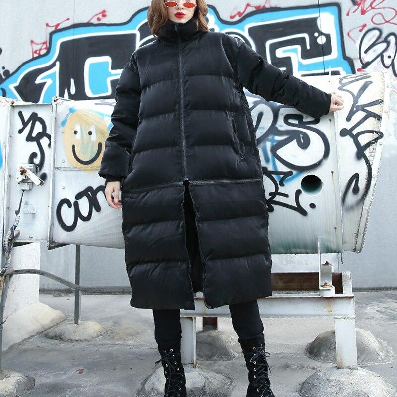 rembourré 2 Femmes Col Nouveau Manches De Hiver Longues Noir À Montant Porter Façons Automne Mode Fendue Manteau Lâche Commune Coton annRrPWZ