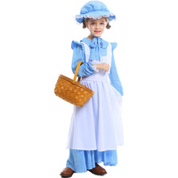 3 Pieces Set Girl Victorian Maid Cosplay Costume Kids Long Sleeve Fancy Long Dress Masquerade Party Oktoberfest Clothes 5 14Y