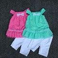 , 5 sets/Л 2-6yrs Детские девушки leopard платье и Брюки Комплект рукавов платье и брюки, девочек одежда, установленные для лета