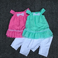 , 5 sets/L 2-6yrs vestido de leopardo y Legging del Bebé de la Muchacha Set, vestido sin mangas y pantalones, ropa de las muchachas fijaron para el verano