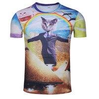 Katze Kopf Porträt Bild Druck männer T-shirt Mode Freizeit Street Einzigartige Persönlichkeit Eng Oansatz Kurzarm-shirt
