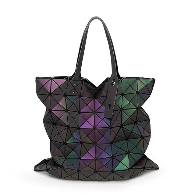 713581bfc3e1 Brand Japan Luminous Women Shoulder Bags Geometry female Large capacity  Ladies Folding Handbags Ladies Casual Tote Sac 2019
