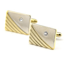 Brand Low-key Luxury Rhinestone Cufflinks for Mens High Quality Square Gold Crystal Cuff links Shirt Cuff Links Relojes Gemelos(China)