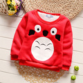 Baby Toddler Kids Winter Thickening Cotton Lovely Cartoon Print Boys Girls T-shirt Button on Shoulder O-neck Red Blue Clothes