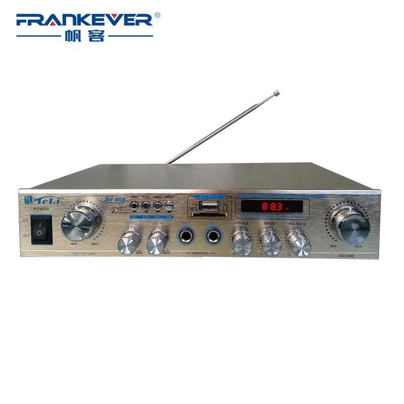 2017 High Quality New USB/TF/FM Digital Stereo Car Audio Power Sound Plate Subwoofer Amplifier tpa3116 Volume Control AV-908