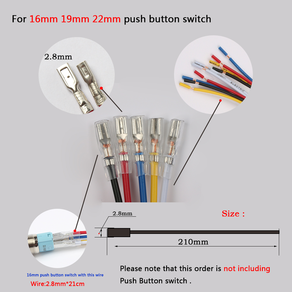 12mm 16MM 19mm 22Mm metal push button wiring 2 6 wires cable for ...
