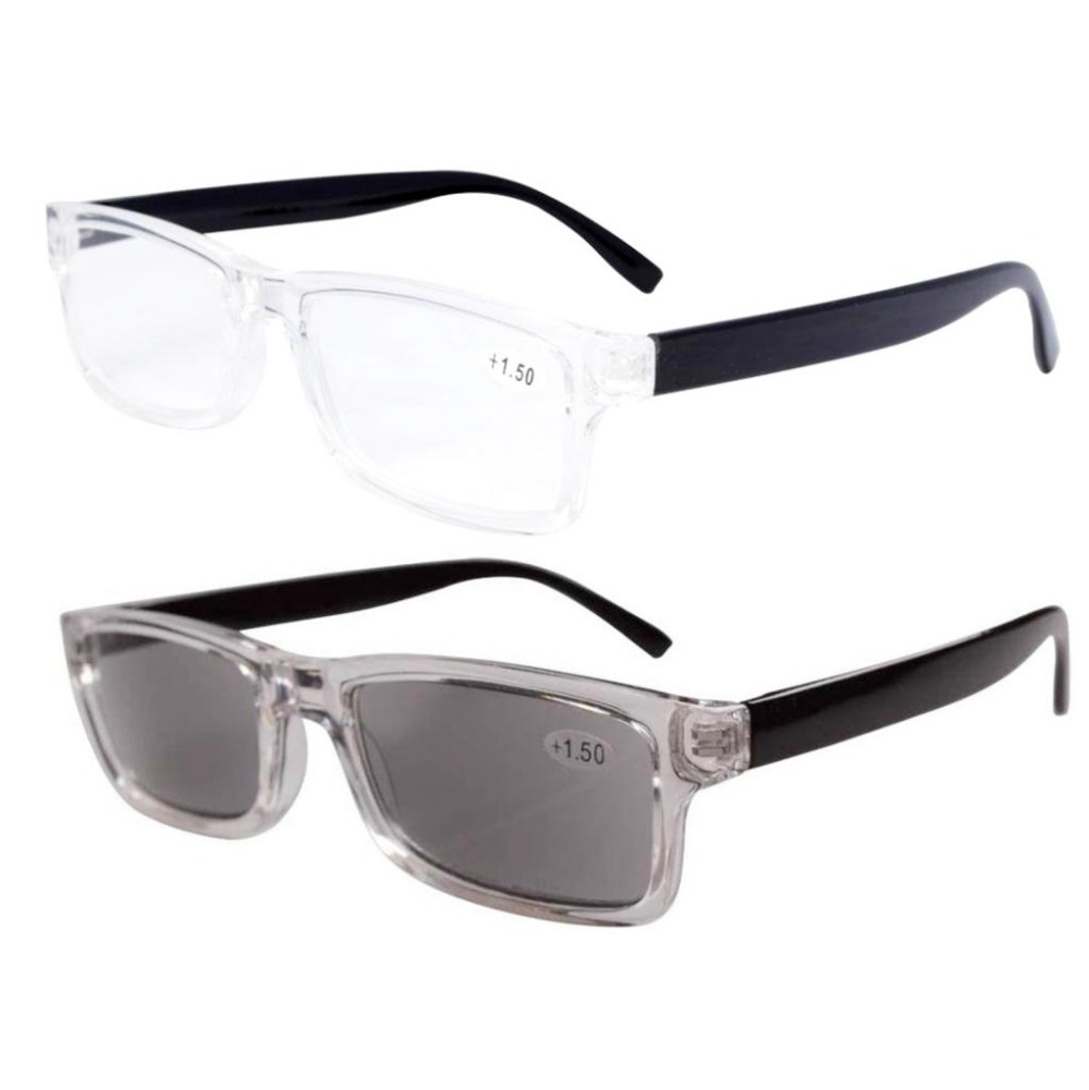 Fr003 Mix 2 Pack Plastic Frame Reading Glasses Include Tinted Readers 1.25 1.5 1.75 2.0 2.25