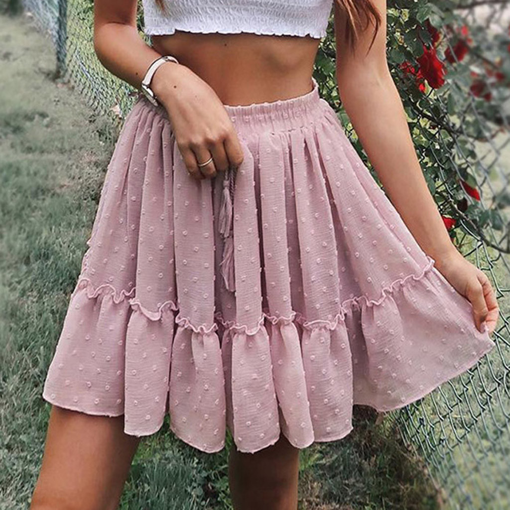 Women's Skirt Skirts faldas jupe femme shein saia harajuku High Waist A Line Mini Skirt Pleated Ruffle Cute Beach Short #50