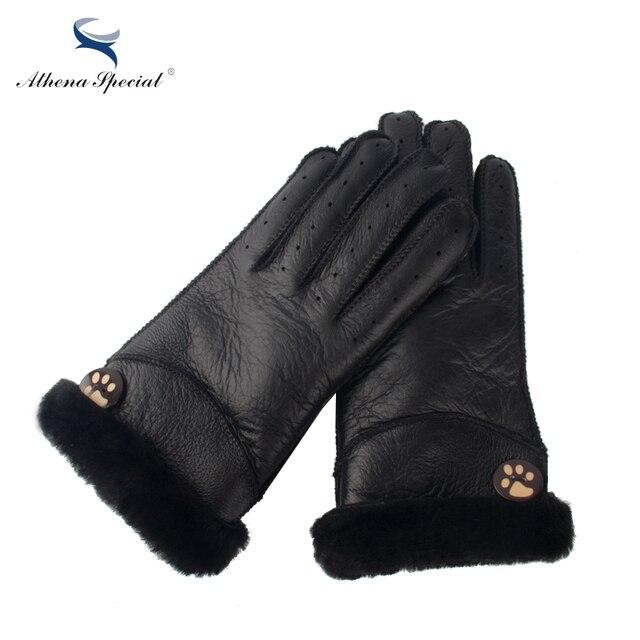 9857e04b3bd1f2 Athena Spezielle Winter Frauen Handschuhe Echt Leder Wolle Pelz Weibliche  Schaffell Leder Pelz Handschuhe Winter Warme