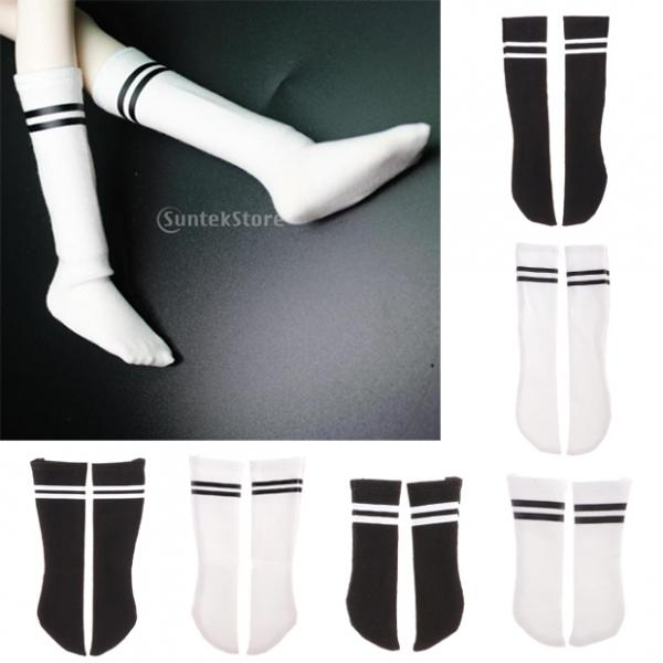 New Pair of 1/6 Striped Cotton Socks for Blythe SD LUTS BJD Dolls Accessories White/Black Fancy Party Dress Up Collectibles dolls accessories dreamy party wedding gown dress 1 3 bjd sd dz aod luts dollfie doll clothes sd outfit party clothes