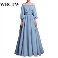 WBCTW Dresses Fall Long Sleeve Maxi Dress Elastic Slash Neck Cotton Linen Dress XXS 7XL Plus Size Ball Gown Elegant Woman Dress