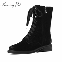Krazing Pot 2018 genuine leather med heels round toe dailywear motorcycle boots all black color mature women mid calf boots L39