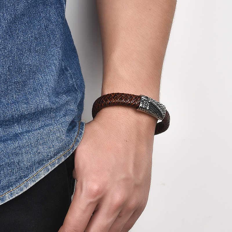 Jiayiqi 新男性ジュエリーパンク黒ブルー編組レザーブレスレット男性ステンレス鋼磁気クラスプファッションバングルギフト