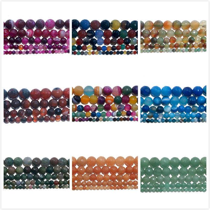 4 6 8 10mm Faceted Natürliche Stein Perle Rosa Quarz Amethysten Achate Amazon Lapis lazuli Für Schmuck, Die DIY armband Halskette