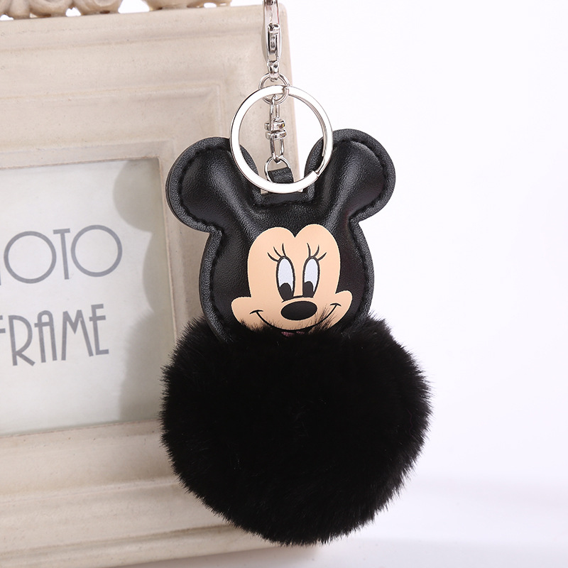 Fluffy Buuny Fur Pompon Mickey Keychain Women Faux Rabbit Fur Ball Pom Pom Mouse Key Chains Bag Charms Car Trinket Gift