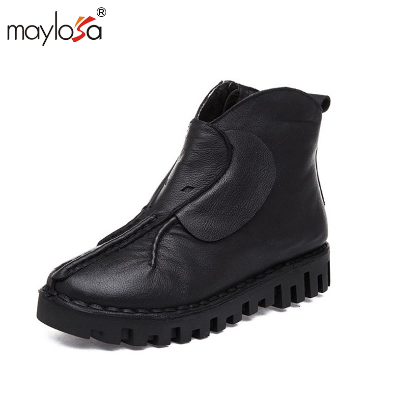 MAYLOSA Vintage Style Genuine Leather Women Boots Flat Booties Soft Cowhide Women's Shoes Boots zapatos mujer maylosa 2017 vintage style genuine leather women boots flat booties soft cowhide women s shoes zip ankle boots warm winter shoe