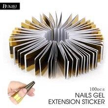BUKAKI 100 шт Профессиональная форма для ногтей акриловый кривой гель для наращивания ногтей Наклейка для ногтей направляющая форма для ногтей гель